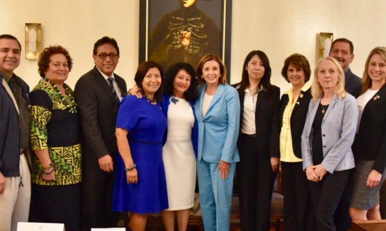 Yassmin Barrios (left) and Erika Aifan (right) flank Nancy Pelosi during her visit to Guatemala. (US Embassy Guatemala)